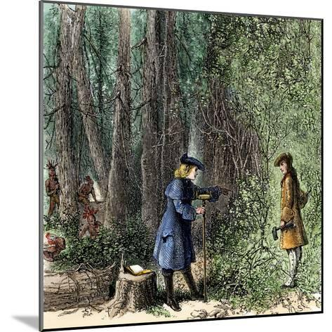Surveyors Lawson and Degraffenried Captured by Native Americans in the Carolinas, 1711--Mounted Giclee Print