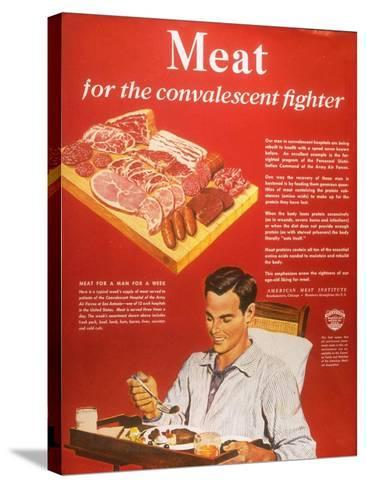 Convalescents Meat Eating Soldiers WWII, USA, 1940--Stretched Canvas Print
