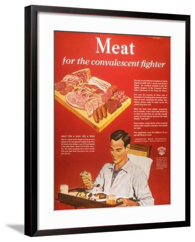 Convalescents Meat Eating Soldiers WWII, USA, 1940--Framed Art Print