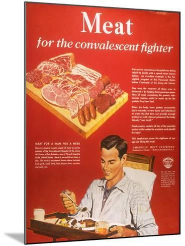 Convalescents Meat Eating Soldiers WWII, USA, 1940--Mounted Giclee Print