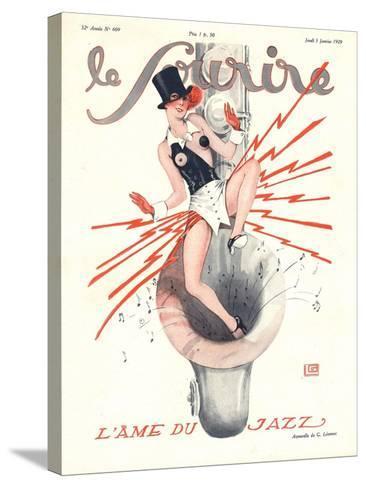 Le Sourire, Glamour Music Saxophones Erotica Magazine, France, 1920--Stretched Canvas Print