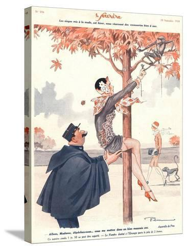 Le Sourire, Glamour Erotica Police Climbing Trees Magazine, France, 1920--Stretched Canvas Print