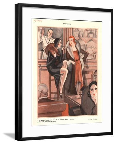 Le Sourire, Glamour Bars Cocktails Alcohol Evening-Dress Cigarettes Smoking Magazine, France, 1920--Framed Art Print