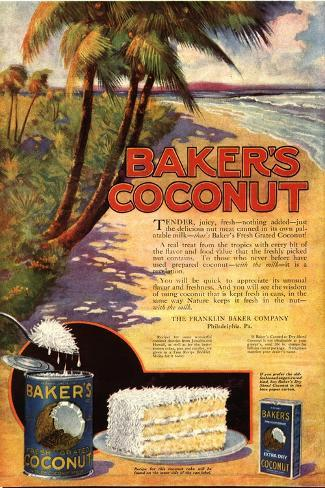 Bakers Coconuts Cakes Baking Cocoanuts, USA, 1910--Stretched Canvas Print