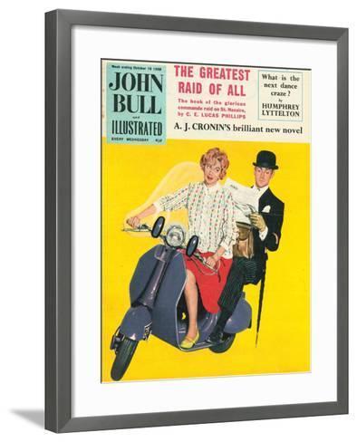 John Bull, Scooters City Gents Bowler Hats Commuters Magazine, UK, 1958--Framed Art Print