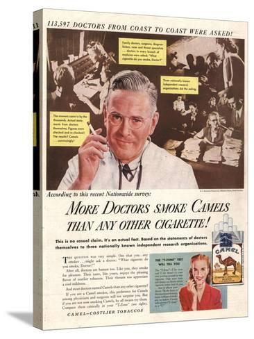 Camels, Cigarettes Smoking Medical, USA, 1946--Stretched Canvas Print