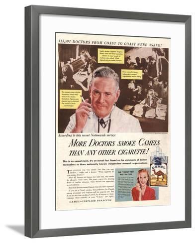 Camels, Cigarettes Smoking Medical, USA, 1946--Framed Art Print