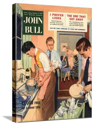 John Bull, Washing Up Dishes Magazine, UK, 1956--Stretched Canvas Print