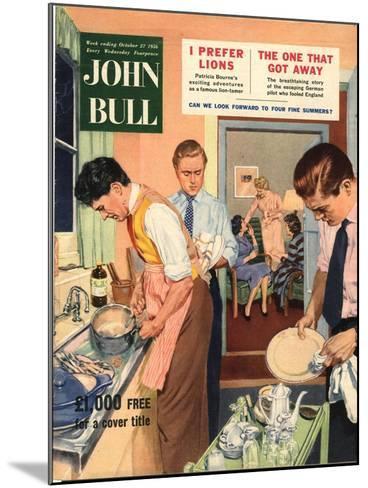 John Bull, Washing Up Dishes Magazine, UK, 1956--Mounted Giclee Print