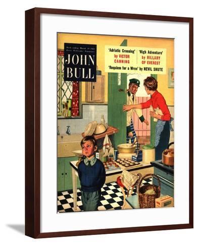 John Bull, Naughty Milkman, Women in Kitchen Magazine, UK, 1955--Framed Art Print