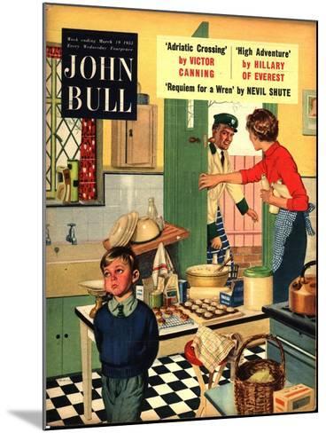 John Bull, Naughty Milkman, Women in Kitchen Magazine, UK, 1955--Mounted Giclee Print