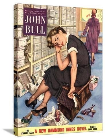 John Bull, Tired Fed-Up Stress Exhausted Sales Assistants Shoes Sales Shopping Magazine, UK, 1954--Stretched Canvas Print