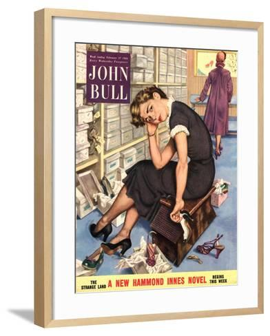 John Bull, Tired Fed-Up Stress Exhausted Sales Assistants Shoes Sales Shopping Magazine, UK, 1954--Framed Art Print