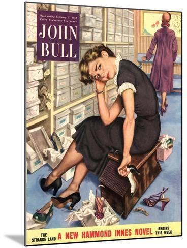 John Bull, Tired Fed-Up Stress Exhausted Sales Assistants Shoes Sales Shopping Magazine, UK, 1954--Mounted Giclee Print