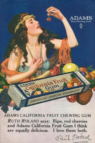 Adams California Fruit Gum, Chewing Gum Sweets, USA, 1910--Stretched Canvas Print