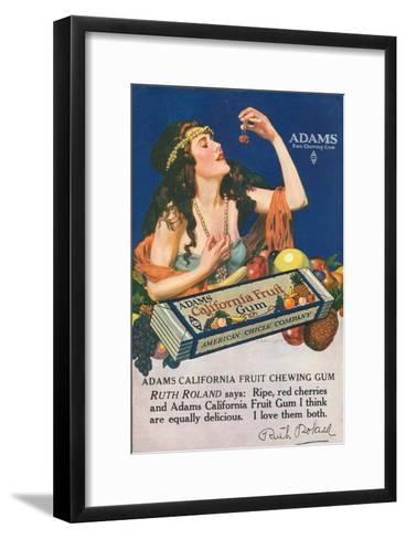 Adams California Fruit Gum, Chewing Gum Sweets, USA, 1910--Framed Art Print