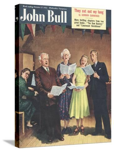 John Bull, Singing, Choirs Practice, the Villages Halls Magazine, UK, 1951--Stretched Canvas Print