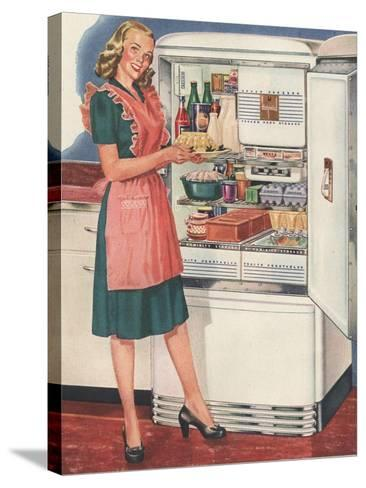 Hotpoint, Women in the Kitchen, Refrigerators, USA, 1940--Stretched Canvas Print