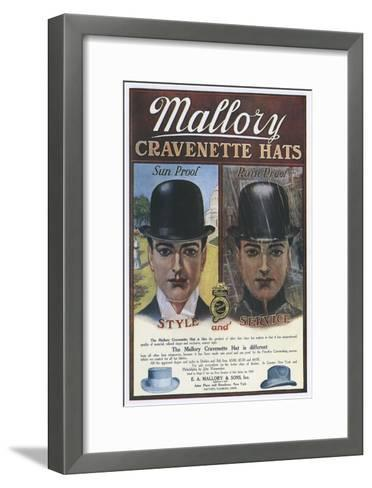 Mallory, Hats Mens Bowler, USA, 1910--Framed Art Print