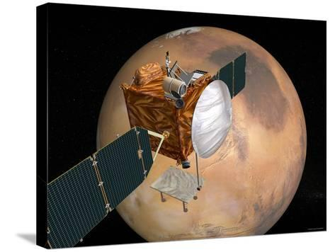Nasa's Mars Telecommunications Orbiter in Flight around Mars-Stocktrek Images-Stretched Canvas Print