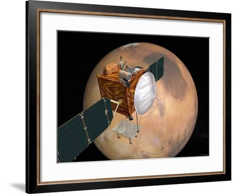 Nasa's Mars Telecommunications Orbiter in Flight around Mars-Stocktrek Images-Framed Art Print