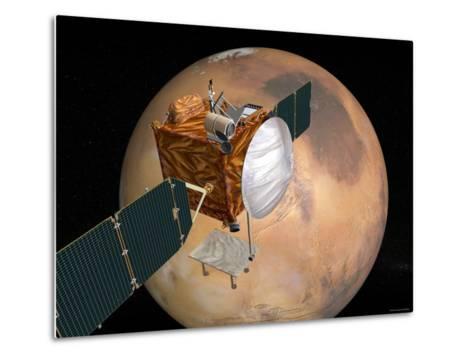 Nasa's Mars Telecommunications Orbiter in Flight around Mars-Stocktrek Images-Metal Print