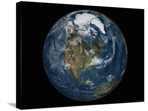 Full View of the Earth with the Full Arctic Region Visible-Stocktrek Images-Stretched Canvas Print