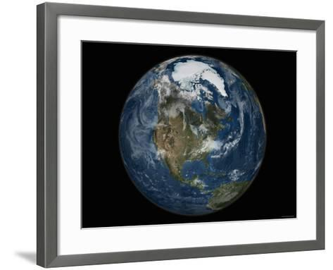 Full View of the Earth with the Full Arctic Region Visible-Stocktrek Images-Framed Art Print