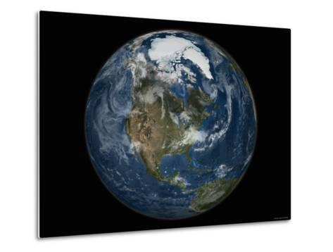 Full View of the Earth with the Full Arctic Region Visible-Stocktrek Images-Metal Print