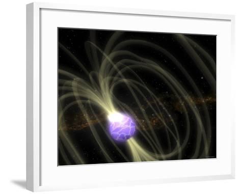 SGR 1806-20 Magnetar Including Magnetic Field Lines-Stocktrek Images-Framed Art Print