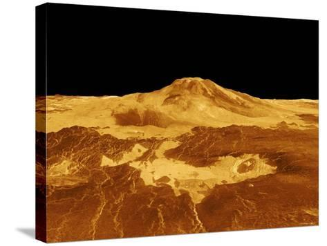 3D Perspective View of Maat Mons on Venus-Stocktrek Images-Stretched Canvas Print