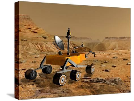 Mars Science Laboratory Travels Near a Canyon on Mars-Stocktrek Images-Stretched Canvas Print