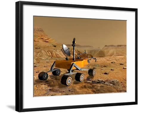 Mars Science Laboratory Travels Near a Canyon on Mars-Stocktrek Images-Framed Art Print