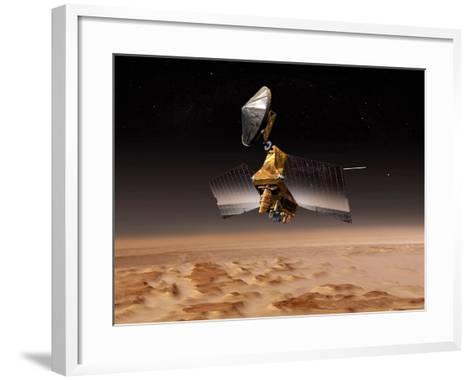 Mars Reconnaissance Orbiter Passes above Planet Mars-Stocktrek Images-Framed Art Print