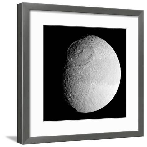 Saturn's Moon Tethys-Stocktrek Images-Framed Art Print