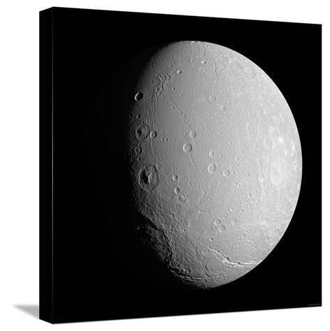 Saturn's Moon Dione-Stocktrek Images-Stretched Canvas Print