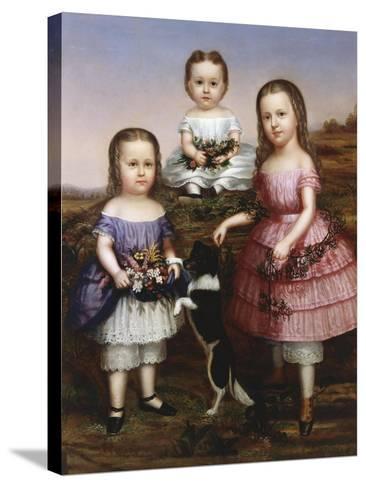 Portrait of Three Children, 19th Century--Stretched Canvas Print