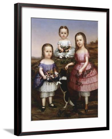 Portrait of Three Children, 19th Century--Framed Art Print