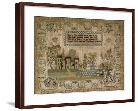 Silk-On-Linen Needlework Sampler. Probably Mid-Atlantic States, 1830-1840--Framed Art Print