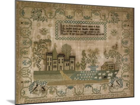 Silk-On-Linen Needlework Sampler. Probably Mid-Atlantic States, 1830-1840--Mounted Giclee Print