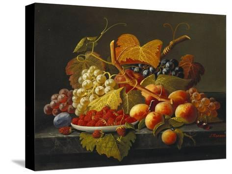 BIRD /& FRUIT PEARS PEACHES GRAPES FLOWERS PAINTING ART REAL CANVAS GICLEE PRINT