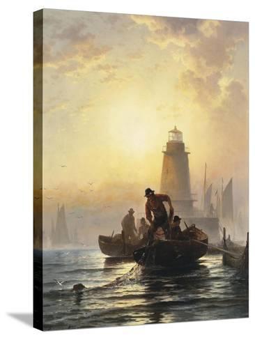 Fish Pond, Orient Bay, L. I, 1876-Edward Moran-Stretched Canvas Print