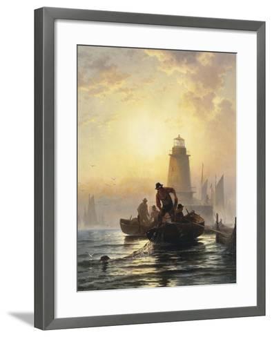 Fish Pond, Orient Bay, L. I, 1876-Edward Moran-Framed Art Print
