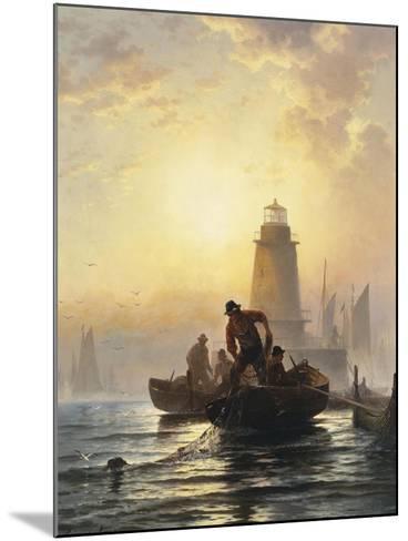 Fish Pond, Orient Bay, L. I, 1876-Edward Moran-Mounted Giclee Print