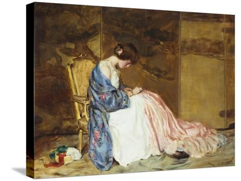 Girl Sewing - the Party Dress-William Wallace Gilchrist-Stretched Canvas Print