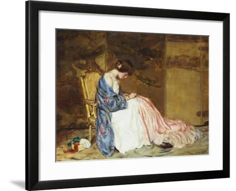 Girl Sewing - the Party Dress-William Wallace Gilchrist-Framed Art Print