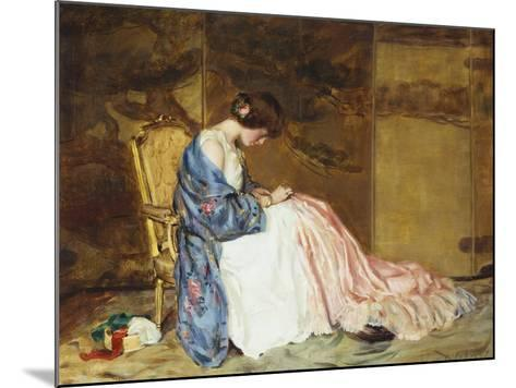 Girl Sewing - the Party Dress-William Wallace Gilchrist-Mounted Giclee Print