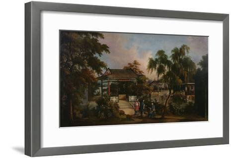 View of Howqua's Garden in Canton with Ladies by a Pavillion, c.1850--Framed Art Print