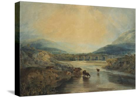 Abergavenny Bridge, Monmouthshire: Clearing Up After a Showery Day, 19th Century-J^ M^ W^ Turner-Stretched Canvas Print