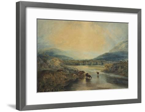 Abergavenny Bridge, Monmouthshire: Clearing Up After a Showery Day, 19th Century-J^ M^ W^ Turner-Framed Art Print